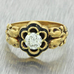 1880s Antique Victorian 14k Solid Yellow Gold .54ct Diamond Engagement Ring EGL
