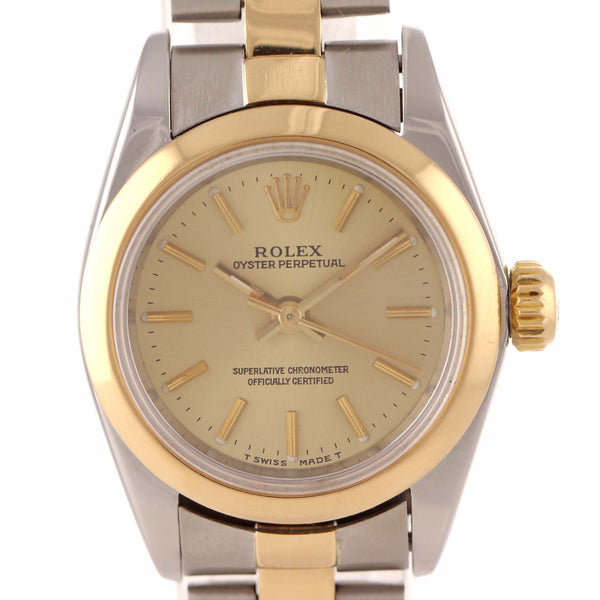 MINT Serviced Rolex Oyster Perpetual 24mm 67183 Two Tone Steel Gold Watch J9