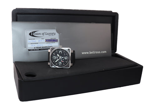 PAPERS RARE Bell & Ross  BR01-97 Power Reserve 46mm Steel Leather Watch Box