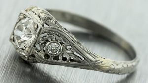 Antique Art Deco Estate 18K White Gold .63ctw Diamond Filigree Engagement Ring