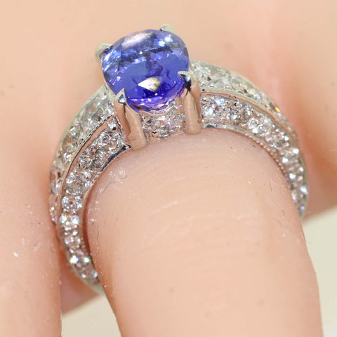 Oval Cut 2.73ct Natural Tanzanite 14K White Gold 1.65ct Diamond Engagement Ring