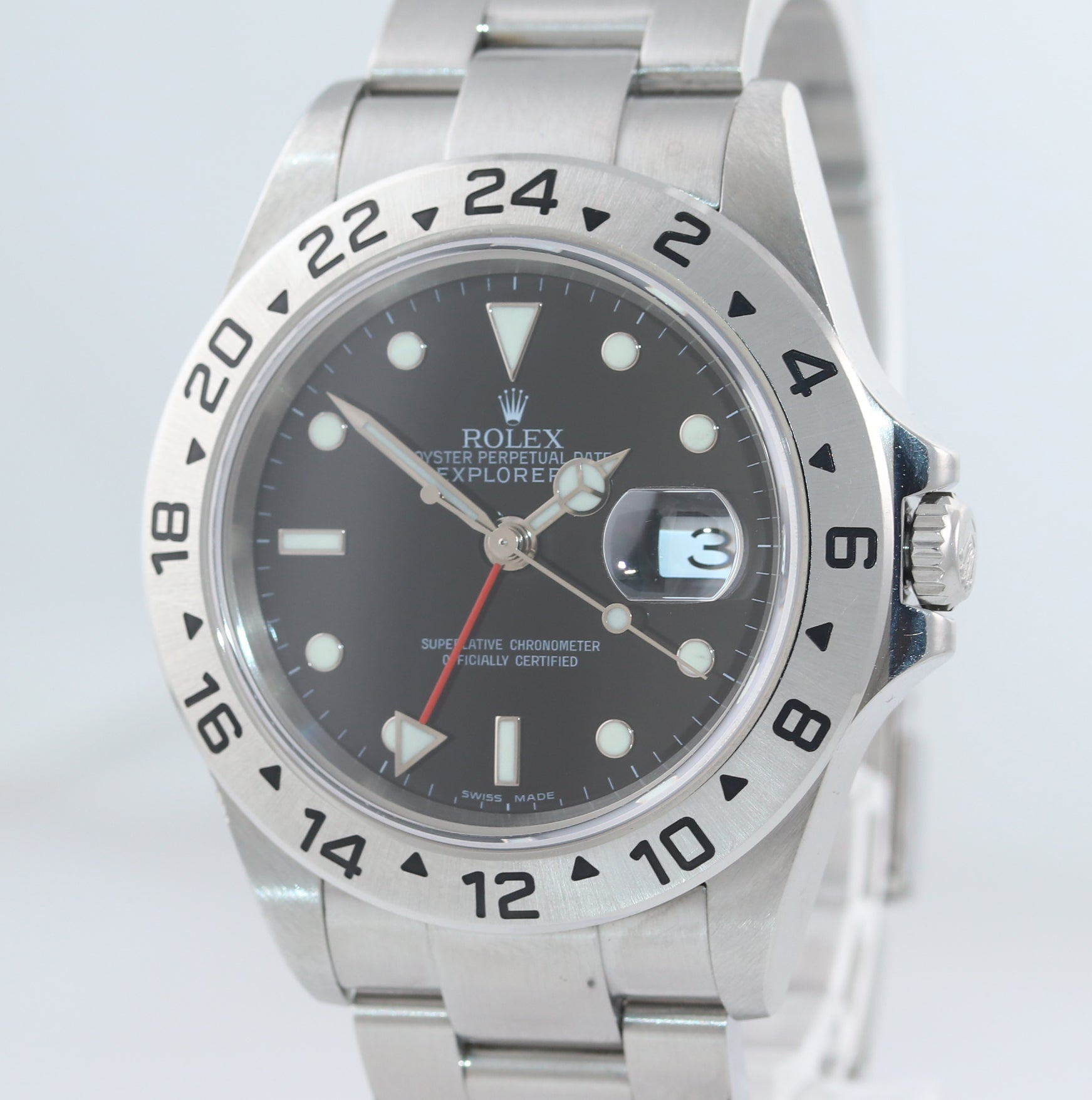 MINT NO HOLES Rolex Explorer II 16570 Stainless Steel Black Date GMT 40mm Watch