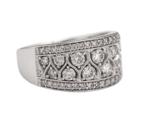 Exquisite Ladies 14k White Gold 1.39ctw Diamond Cluster Wide Band Cocktail Ring