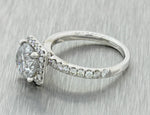 Modern 18k Solid White Gold 2.71ctw Diamond Halo Engagement Ring EGL T1