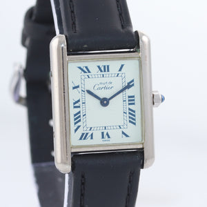 Vintage Must de Cartier Tank 666001 Silver Argent Quartz Blue White Roman Watch
