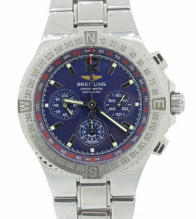 Breitling Hercules Chronograph Steel A39362 44mm Blue Automatic Watch