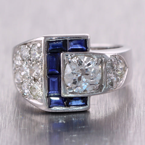 1920's Antique Art Deco 18k White Gold 2.50ctw Diamond & Sapphire Buckle Ring
