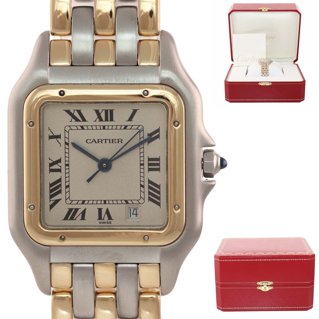 Ladies Cartier Panthere 18k Gold 3 Row Two Tone 27mm Quartz Date 183949 Watch