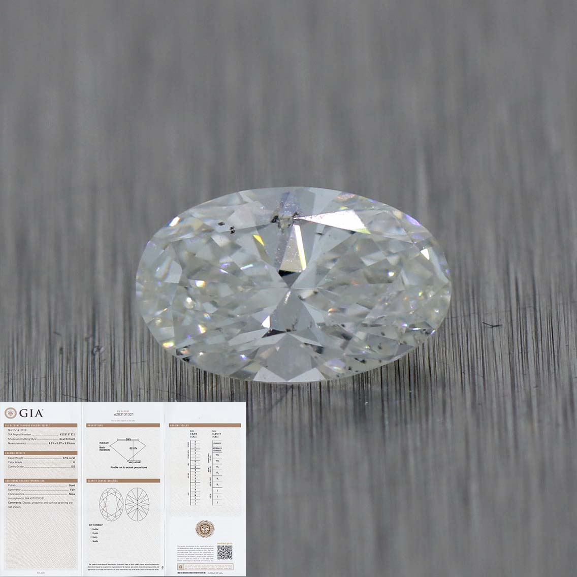 0.96ct GIA Certified Oval Shape Brilliant Cut G SI2 Natural Modern Loose Diamond