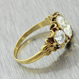 1880s Antique Victorian 14k Solid Gold 1.77ctw Diamond Engagement Ring EGL