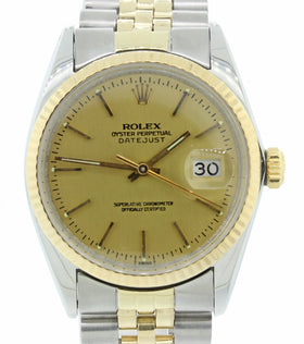 Rolex DateJust 36mm 16030 Steel 14k Gold Two Tone Champagne Jubilee Watch