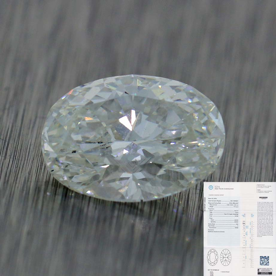 1.70ct GIA Certified Oval Shape Brilliant Cut H VS2 Natural Modern Loose Diamond