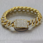 Modern 47.32g 14k Yellow Gold 6ctw Diamond Miami Cuban Link Bracelet