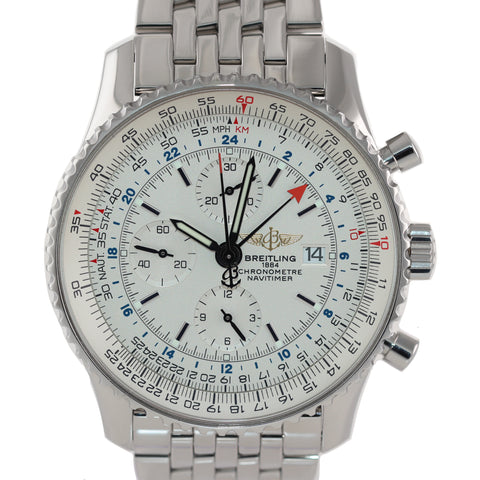 MINT Breitling Navitimer World Chronograph GMT White Cream Steel A24322 Watch