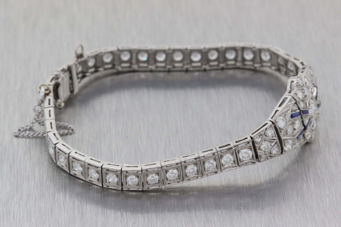 1920s Antique Art Deco Estate Platinum 5.00ctw Diamond Sapphire Bracelet E8