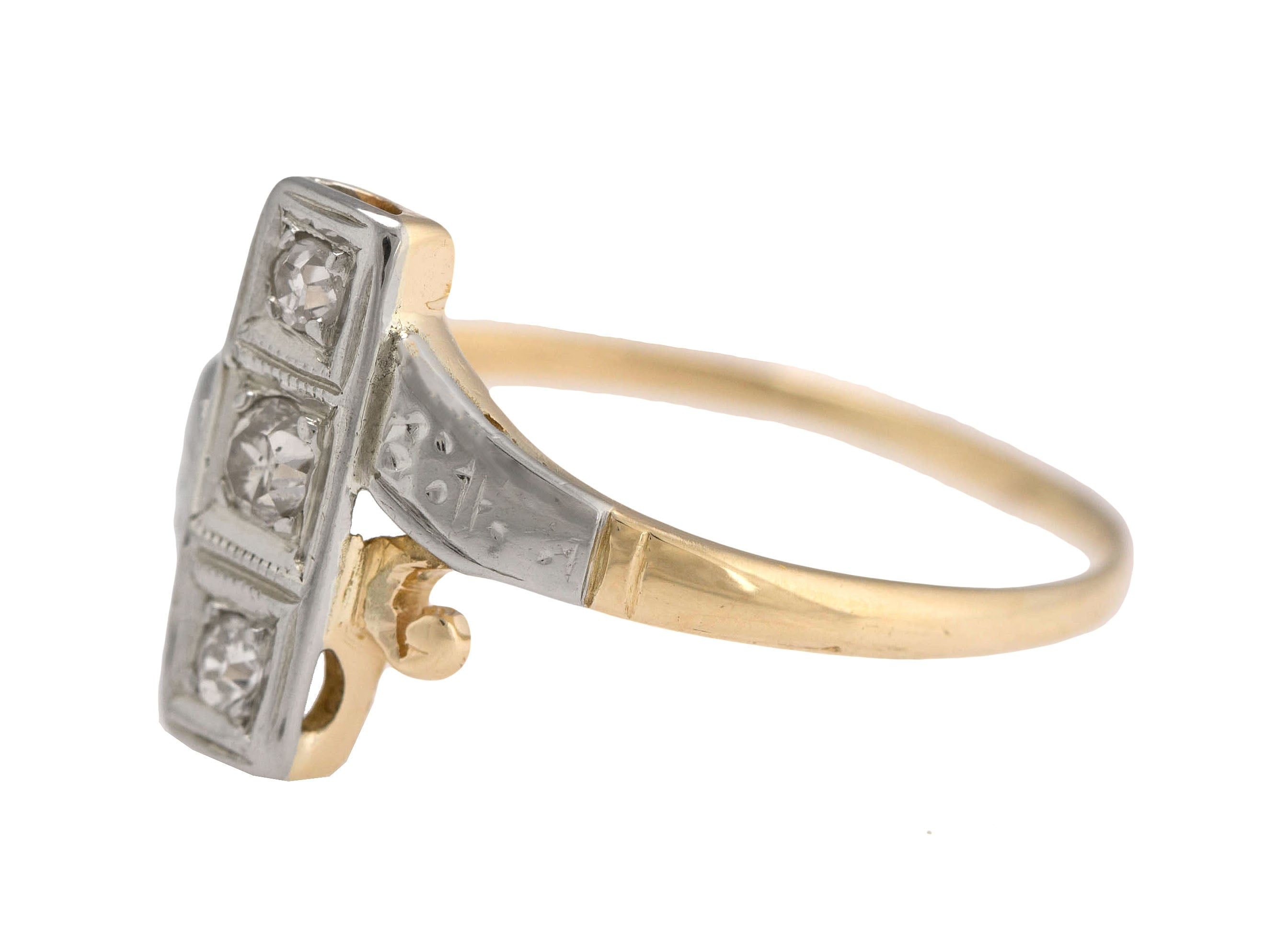 1920's Antique 14K White/Yellow Gold Two-Tone 0.13ctw Diamond Etched Ring