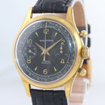 BROKEN Vintage Wakmann 36mm Black Chronograph Manual Wind Watch Incabloc