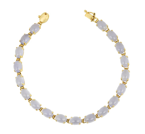 "Ladies Estate 14K Yellow Gold Lavender Chalcedony Oval Cut 7.00"" Tennis Bracelet"