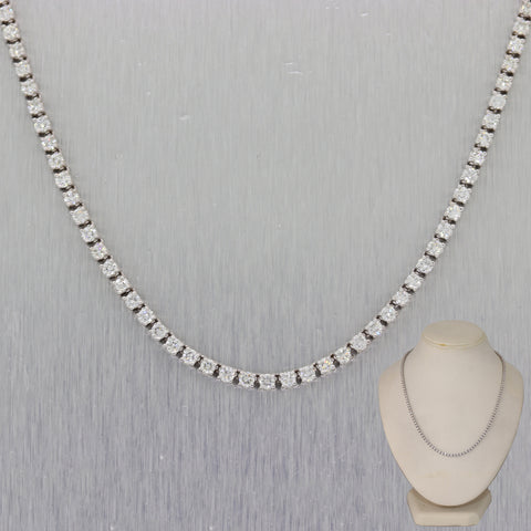 "Modern 14k White Gold 6.70ctw Diamond 17"" Tennis Necklace"