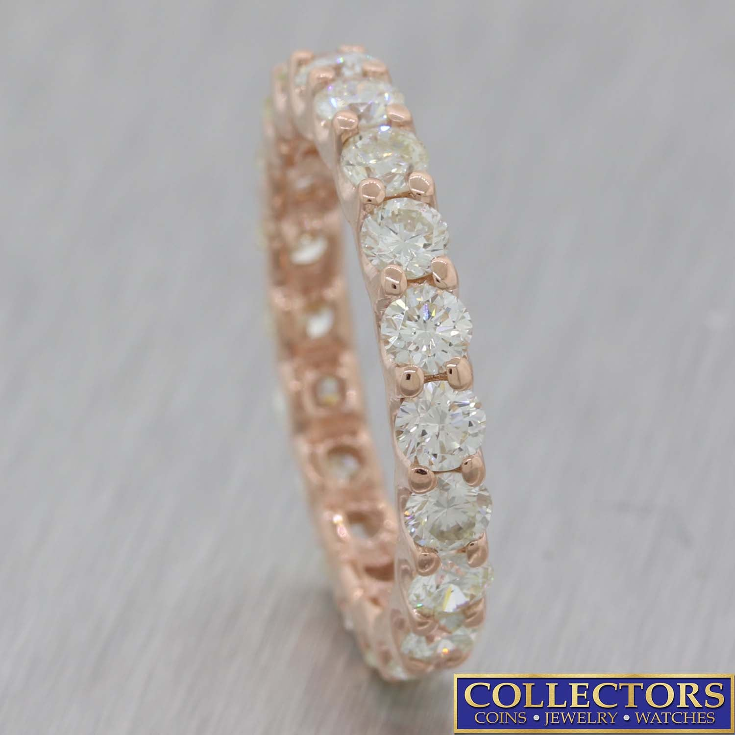 14k Rose Gold 2.35ctw Diamond Shared Prong 2mm Eternity Wedding Band Ring E8
