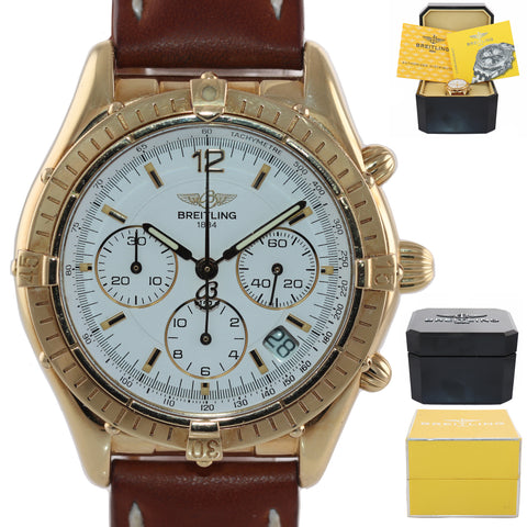 VTG Breitling Chronograph Cockpit White K30012 18k Yellow Gold 37mm Date Watch