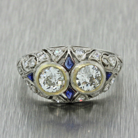 1920s Antique Art Deco Solid Platinum 1.31ctw Diamond Engagement Ring EGL T1