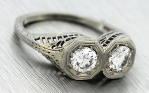 $4,570 Art Deco 18K Gold 0.86ctw Two Stone Diamond Filigree Engagement Ring EGL