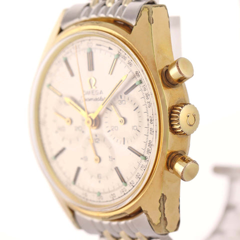 VTG 1960s Omega Seamaster Chronograph Cal. 321 Gold Top Beads Rice Band Watch A8