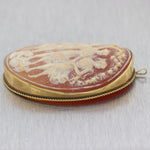 Antique Vintage Estate 14k Yellow Gold Cameo Shell Pendant
