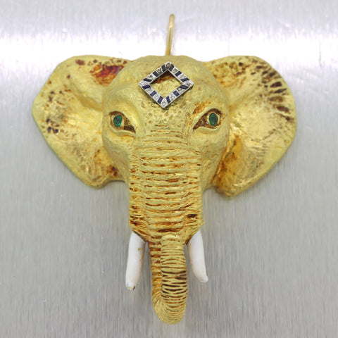 Vintage Estate 18k Yellow Gold Sapphire Diamond Emerald Elephant Pendant