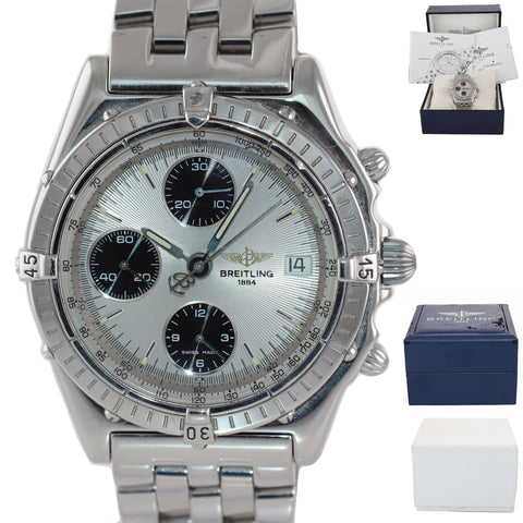 MINT PAPERS Breitling Chronomat 39mm Chronograph Silver Black Steel A13048 Watch