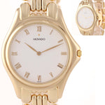 MINT Movado Solid 14k Yellow Gold 35mm White Roman 47-19-880 Quartz Watch A8