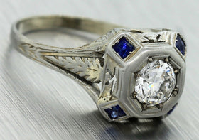 $5,030 Antique Art Deco 20K Gold 0.84ct Diamond Sapphire Engagement Ring EGL USA