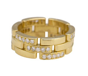 Cartier Maillon Panthere 18k Yellow Gold Diamond 8mm Wide Band Ring Size: 56