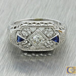 1930s Antique Art Deco 18k Solid White Gold Diamond Sapphire Filigree Ring
