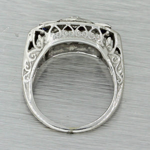 1930s Antique Art Deco 18k Solid White Gold .14ct Diamond Sapphire Filigree Ring