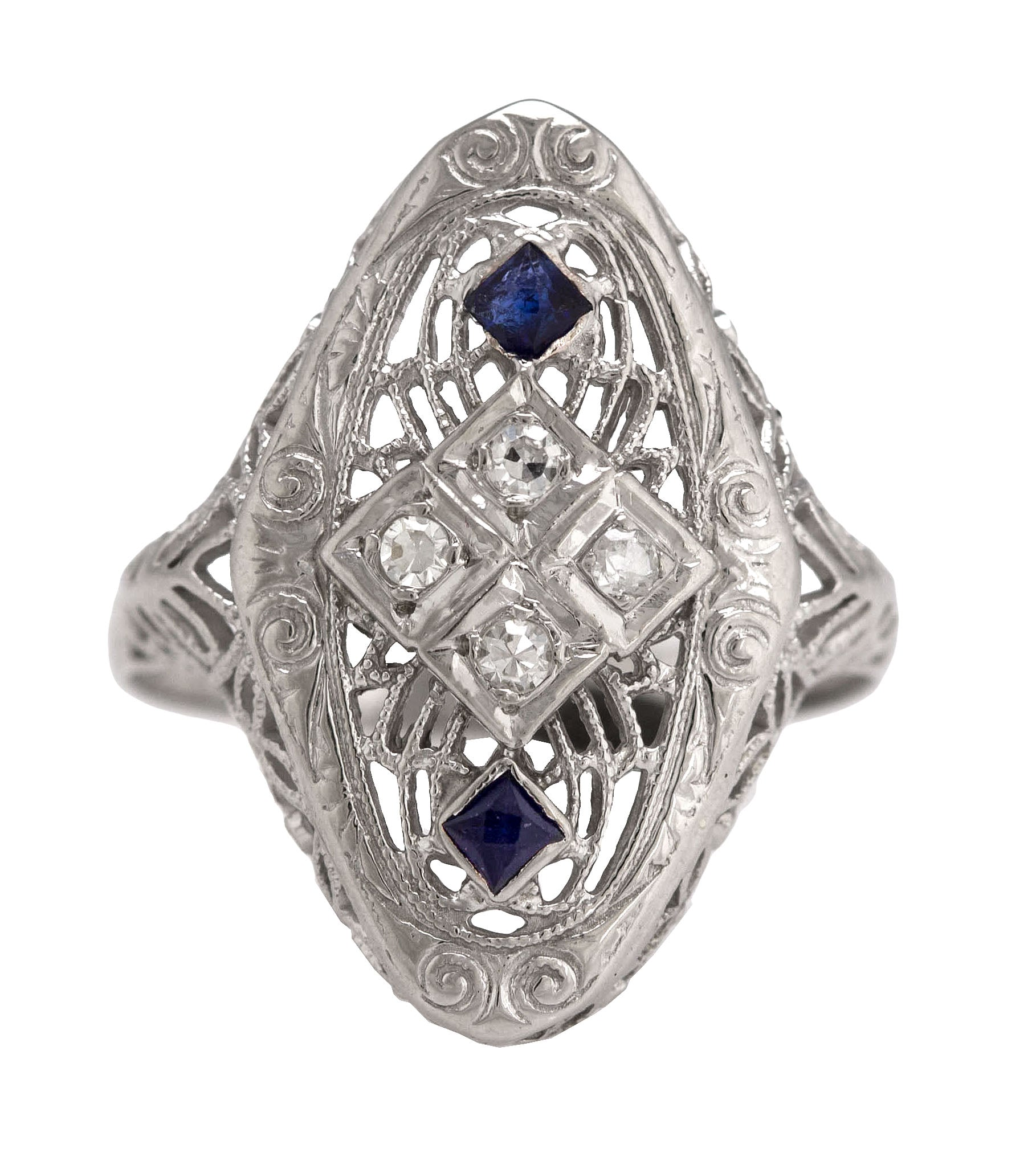 1930s Antique Art Deco 14k White Gold .14ctw Diamond Blue Sapphire Filigree Ring