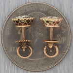 1880 Antique Victorian 14k Yellow Gold 0.60ctw Old Mine Cut Diamond Stud Earring