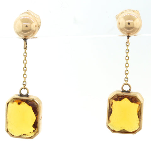 1880's Antique Victorian 14k Yellow Gold Citrine Dangle Earrings