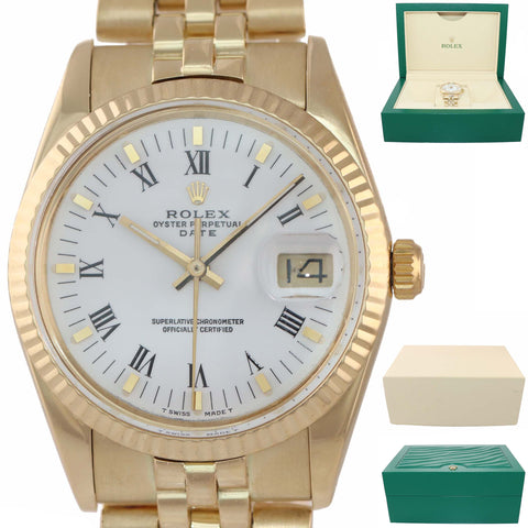 MINT Rolex Date 15037 34mm Solid 14K Yellow Gold White Roman Watch DateJust Box