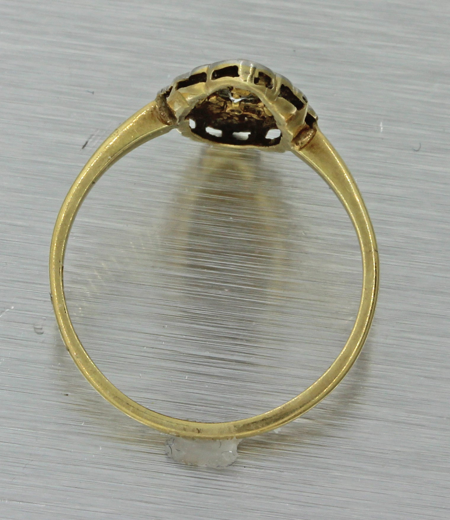 1920s Antique Art Deco Estate 14k Yellow Gold Platinum Diamond Navette Ring