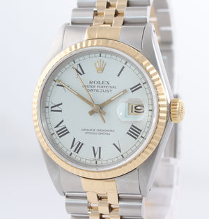 Rolex DateJust 16013 White Buckley 36mm 18K Two Tone Gold Jubilee Band Watch