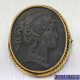 1880s Antique Victorian 14k Yellow Gold Black Lava Cameo Lady Face Brooch Pin Y8