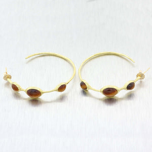 Ippolita Solid 14k Yellow Gold Tigers Eye Rock Candy 3-Stone Hoop Earrings $1795 A9