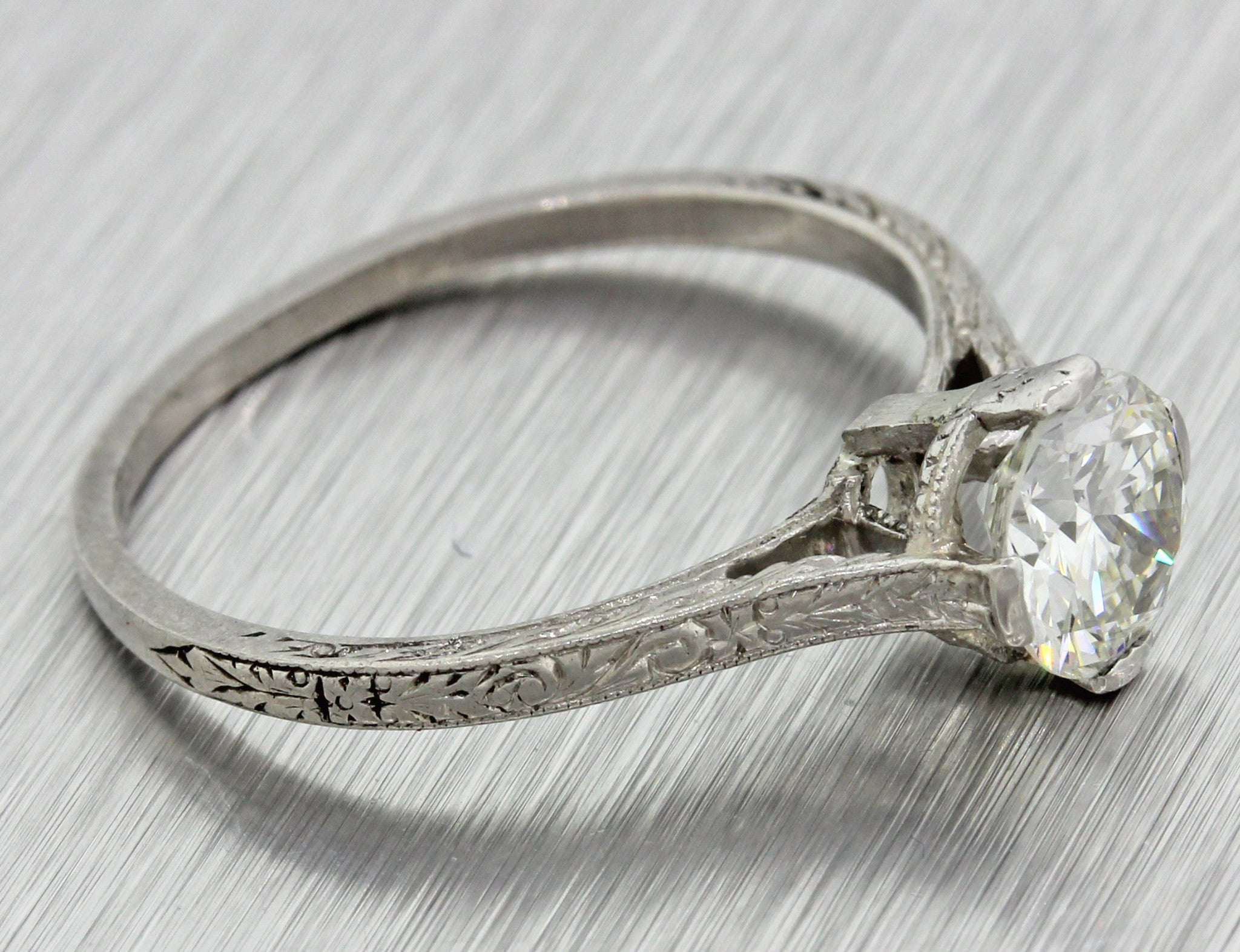 1920s Antique Art Deco Estate Solid Platinum .80ct Diamond Engagement Ring EGL