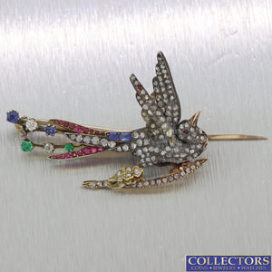 1830s Antique Victorian Silver Diamond Sapphire Emerald Ruby Bird Brooch Pin Y8