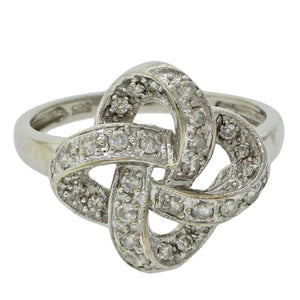 1960s Vintage Estate 14k Solid White Gold Diamond Bow Swirl Cocktail Ring