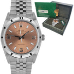 Rolex Oyster Perpetual Air-King 34mm Rose Arabic Engine Turn Jubilee Watch 14010