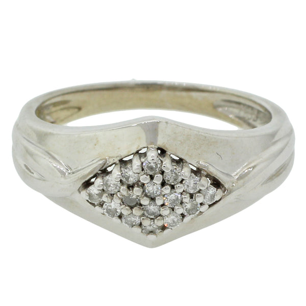 Modern 14k Solid White Gold .32ctw Round Diamond Cluster Cocktail Ring