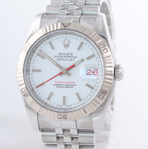 2005 Rolex DateJust 116264 Turn-O-Graph White T Bird Steel Jubilee 18k Watch